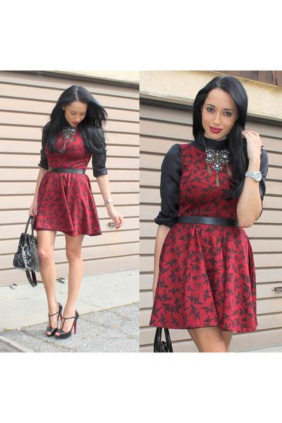black Christian Louboutin shoes - brick red pattern Club L dress