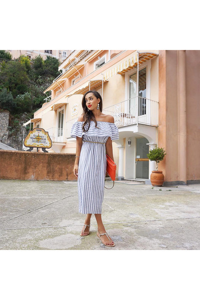 white striped Steele dress