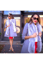 silver Wallis Fashion coat - silver Prada shoes - silver faux fur Boohoo scarf