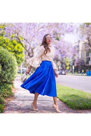 blue asos skirt - nude Jimmy Choo shoes - eggshell storets top