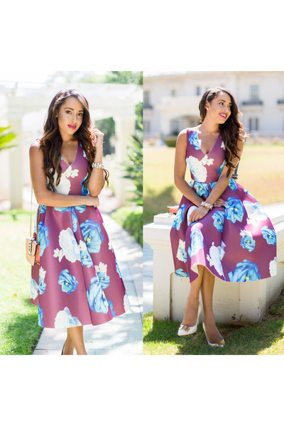 Tiffany & Co necklace - white Sole Society shoes - magenta floral asos dress