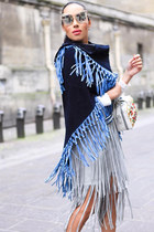 navy suede fringed Local store cape