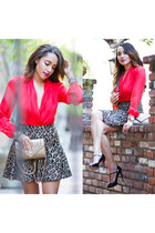 bag - earrings - blouse - skirt - heels