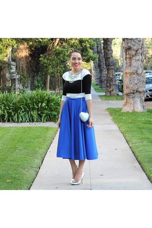 blue asos skirt - silver Target shoes - black Charlotte Russe sweater