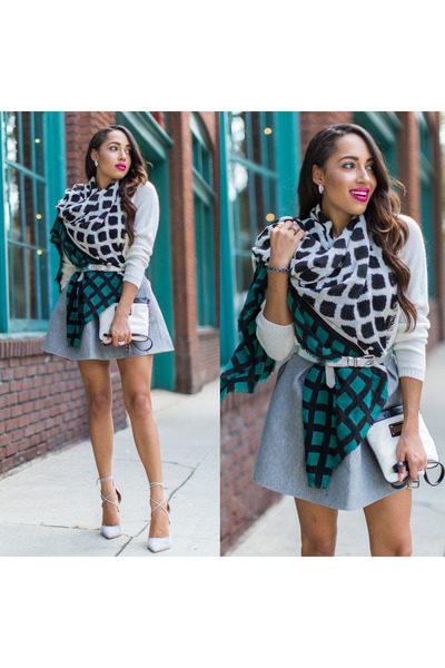 teal Ellen Tracy scarf - white Lulus shoes - silver H&M sweater