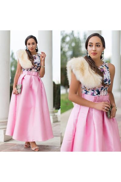 light pink floral Maggy London dress - peach stole Ebay scarf