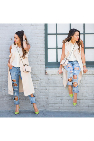 off white Missguided vest - chartreuse Manolo Blahnik shoes