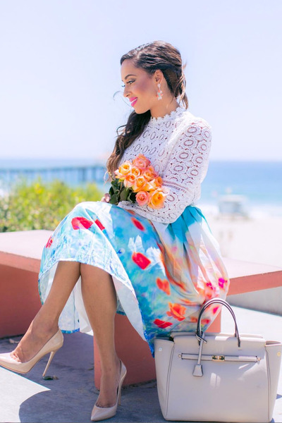 sky blue floral Chicwish skirt