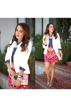 white Forever 21 blazer - beige Charles David shoes - navy print Old Navy shirt