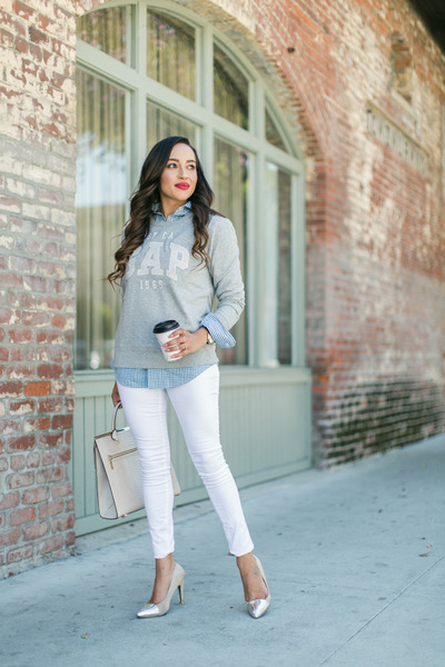 silver sweatshirt Gap sweater - nude Love Culture shoes - white Wet Seal jeans