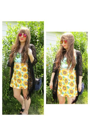 yellow sunflower Ebay skirt - navy furry asos bag - hot pink H&M sunglasses