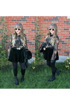 black zipper H&M boots - white asos sunglasses - forest green velvet Ebay skirt