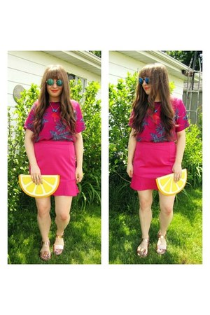 hot pink tropical floral Motel Rocks top - yellow Monki bag