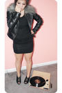 Black-dress-black-shoes-white-bracelet-black-jacket