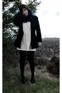 White-dress-black-tights-black-sweater-red-scarf-black-shoes-black-sca