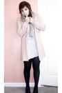 Pink-old-navy-coat-white-forever-21-dress-black-scarf-gray-scarf-black-t