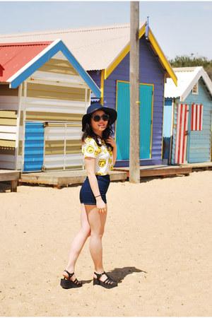 cotton FEMMEX top - denim American Apparel shorts - rubi sunglasses