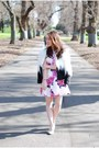 Floral-print-romwe-dress-faux-fur-choies-jacket