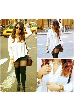 white H&amp;M blouse - brown coach bag - black American Apparel socks