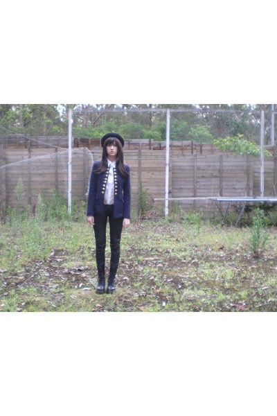 black bardot pants - blue somwhere in london jacket - black Dr Martens shoes - w