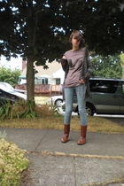 t-shirt - Arizona jeans - Maloles boots - homemade sweater