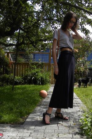 gray Forever 21 shirt - brown vintage belt - black random skirt