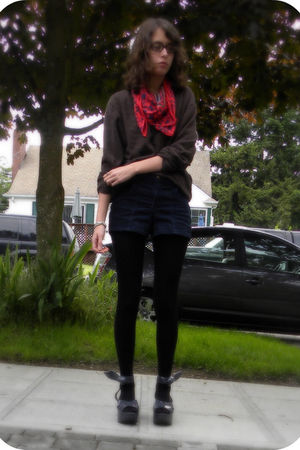 brown sweater - red vintage scarf - blue American Apparel shorts - black H&M tig