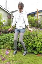 white American Apparel top - blue Target shorts - gray DKNY tights - gray vivien