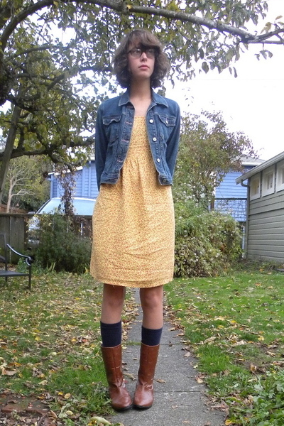 yellow thrift dress - brown Maloles boots - blue denim jacket