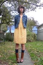 yellow thrift dress - brown Maloles boots - blue denim jacket