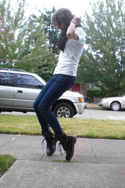 American Apparel t-shirt - BDG jeans - American Apparel scarf - Dr Martens boots
