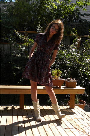 purple H&M dress - white bronx boots