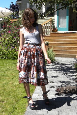 gray American Apparel shirt - brown vintage skirt - gray vivienne westwood shoes