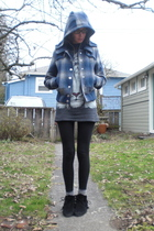 blue BDG coat - gray thrifted shirt - black