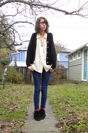 white shirt - black cardigan - blue BDG jeans - red socks - black Miss Me shoes