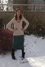Beige-h-m-sweater-turquoise-blue-thrifted-skirt-black-dr-martens-boots
