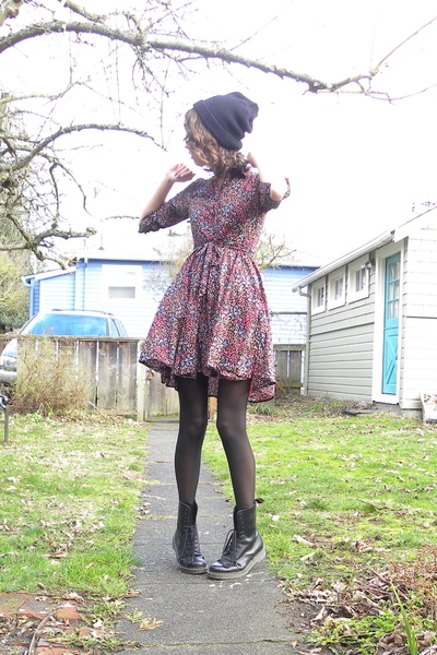 purple floral H&M dress - black Dr Martens boots - black knit hat