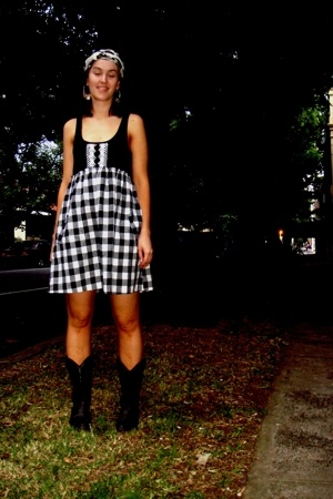 scarf - dress - boots - earrings