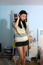 thrifted sweater - urban behavior shorts - Converse shoes