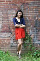 yellow Express top - black Bakers shoes - blue Wyeth shirt - red aa skirt