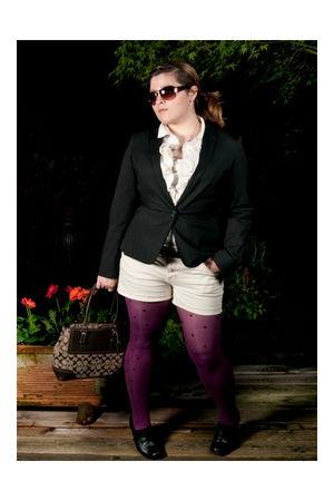 white Michael Kors blouse - black calvin klein blazer - beige calvin klein short