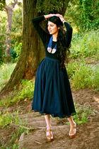 black Target shirt - blue H&M skirt - blue H&M necklace - beige shoes