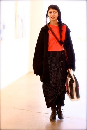 black polka dot vintage from my mama dress - black Zara sweater - red cropped To