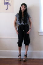 black pants - silver shirt
