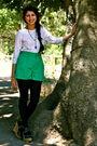 Beige-vintage-t-shirt-green-vintage-shorts-blue-forever-21-pants-beige-for