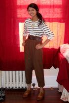 white Zara shirt - brown Zara pants - brown Zara belt
