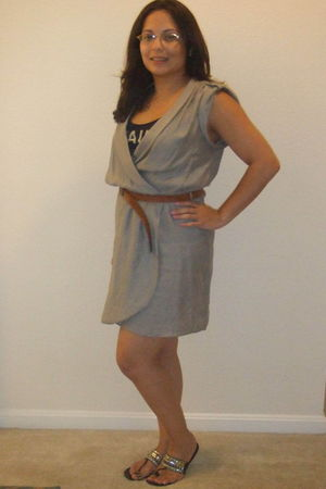 gray Zara dress - brown Zara belt - blue Forever 21 top - black Bamboo shoes