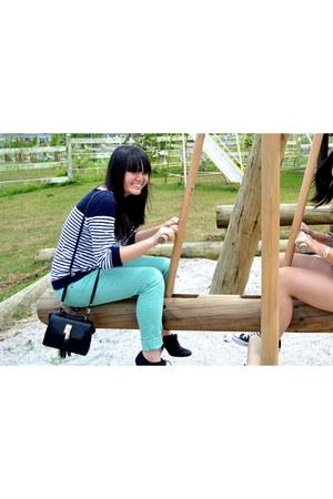 turquoise blue Zara jeans - black Topshop bag - black Zara heels