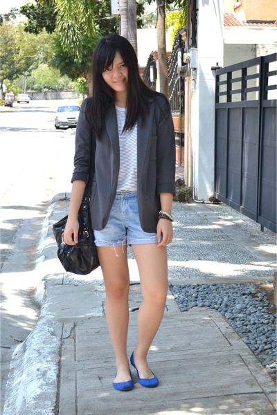 gray Details blazer - white American Apparel shirt - sky blue Forever 21 shorts