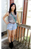 light blue DIY Lee shorts - black Urban Outfitters boots